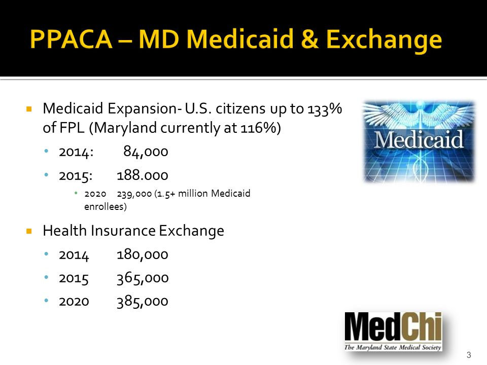  Medicaid Expansion- U.S. citizens up to 133% of FPL (Maryland currently at 116%) 2014: 84,000 2015:188.000 2020239,000 (1.5+ million Medicaid enroll