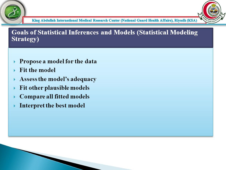  Propose a model for the data  Fit the model  Assess the model's adequacy  Fit other plausible models  Compare all fitted models  Interpret the best model  Propose a model for the data  Fit the model  Assess the model's adequacy  Fit other plausible models  Compare all fitted models  Interpret the best model Goals of Statistical Inferences and Models (Statistical Modeling Strategy)