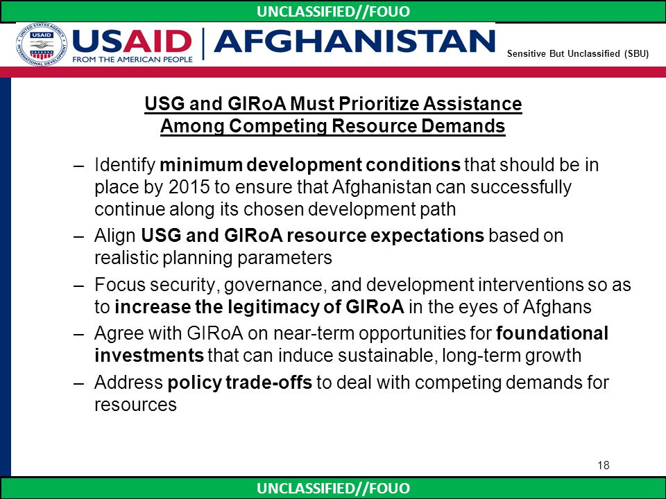 UNCLASSIFIED//FOUO USG and GIRoA Must Prioritize Assistance Among Competing Resource Demands –Identify minimum development conditions that should be i