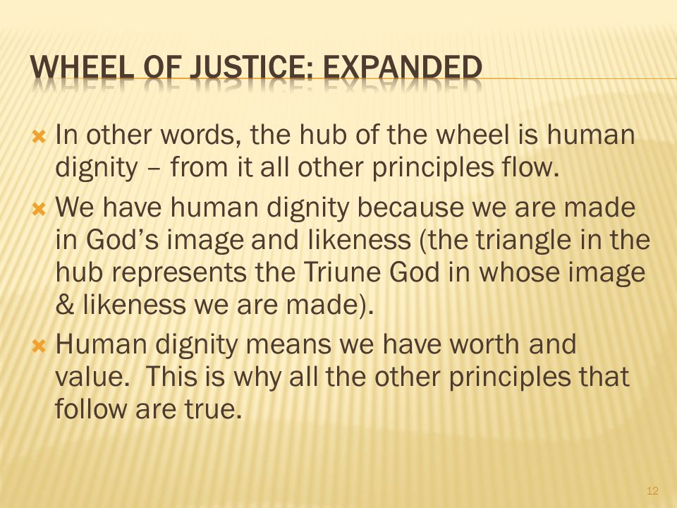 In other words, the hub of the wheel is human dignity – from it all other principles flow.