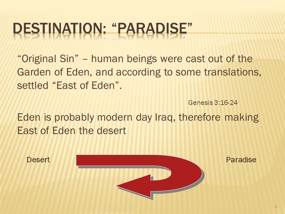 Original Sin – human beings were cast out of the Garden of Eden, and according to some translations, settled East of Eden .