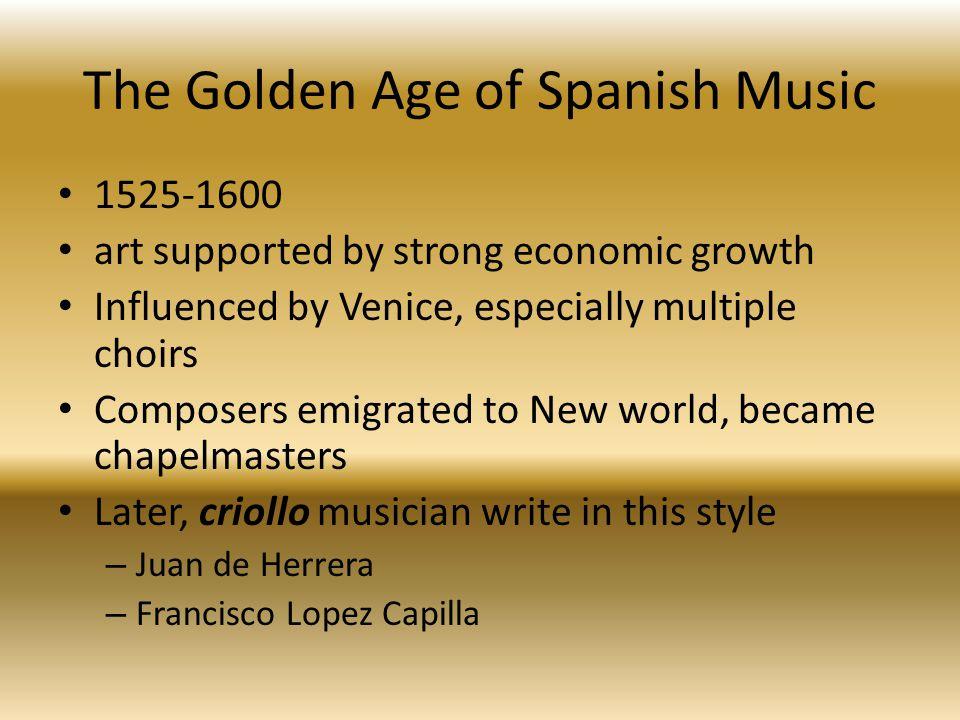 Colonial Opera Zarzuela—Spanish light opera Conventions of opera New genre in 1600 Evolved into a scheme of recitative, aria, plus instrumental, sometimes dance section.