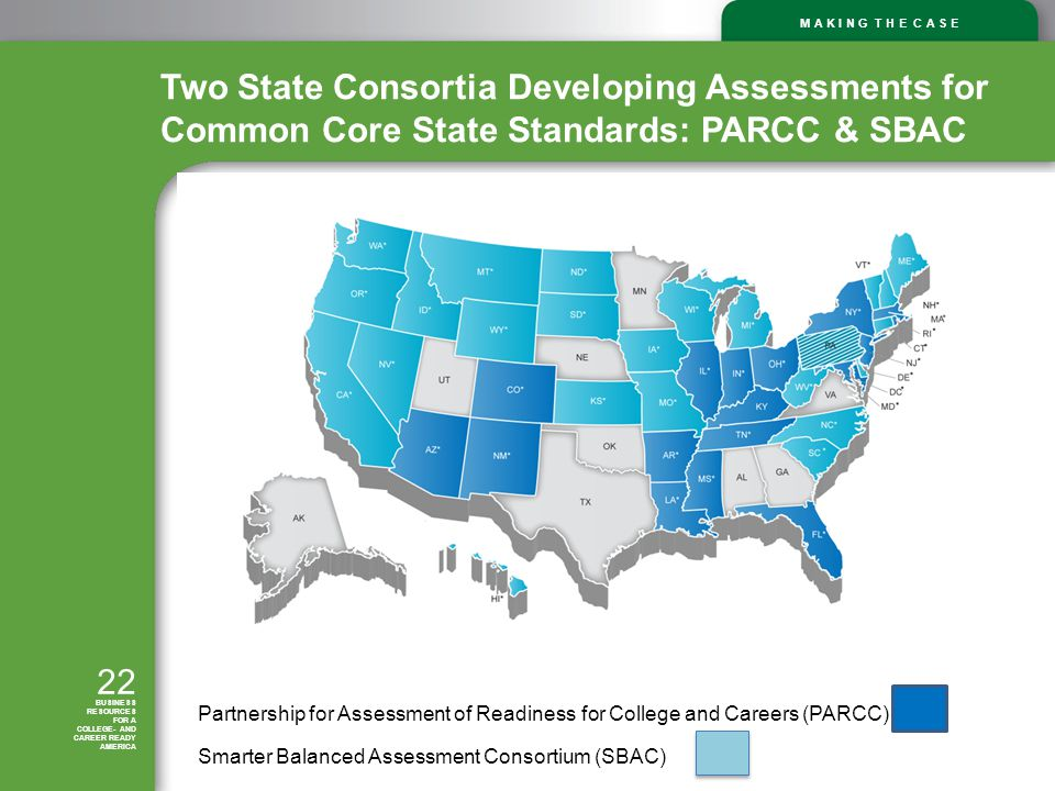M A K I N G T H E C A S E 22 BUSINESS RESOURCES FOR A COLLEGE- AND CAREER READY AMERICA Two State Consortia Developing Assessments for Common Core State Standards: PARCC & SBAC Partnership for Assessment of Readiness for College and Careers (PARCC) Smarter Balanced Assessment Consortium (SBAC)