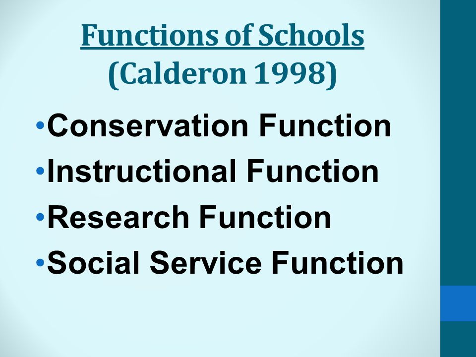Functions of Schools (Calderon 1998) Conservation Function Instructional Function Research Function Social Service Function