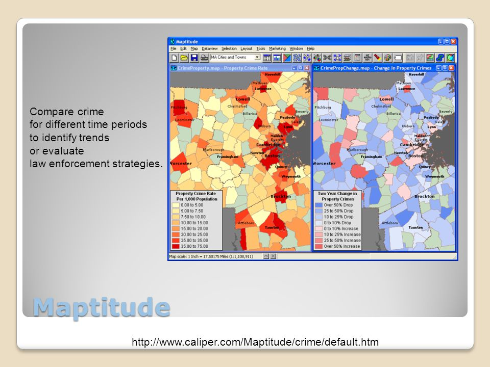 Maptitude Compare crime for different time periods to identify trends or evaluate law enforcement strategies.