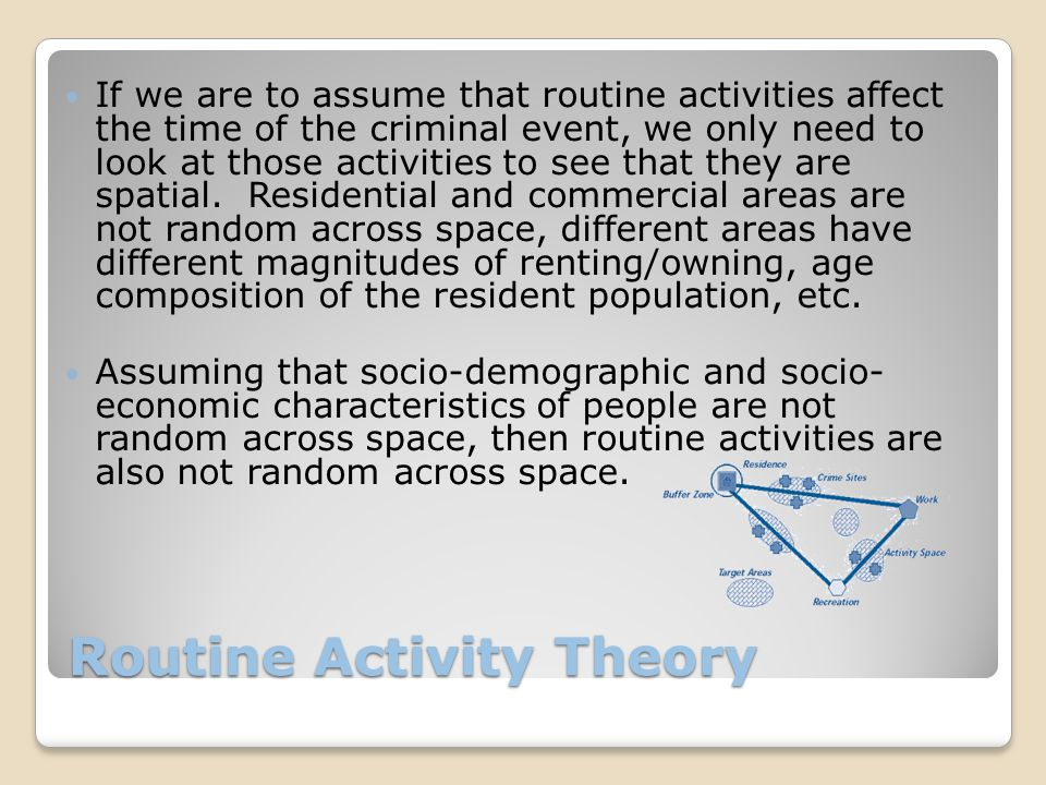 Routine Activity Theory If we are to assume that routine activities affect the time of the criminal event, we only need to look at those activities to see that they are spatial.
