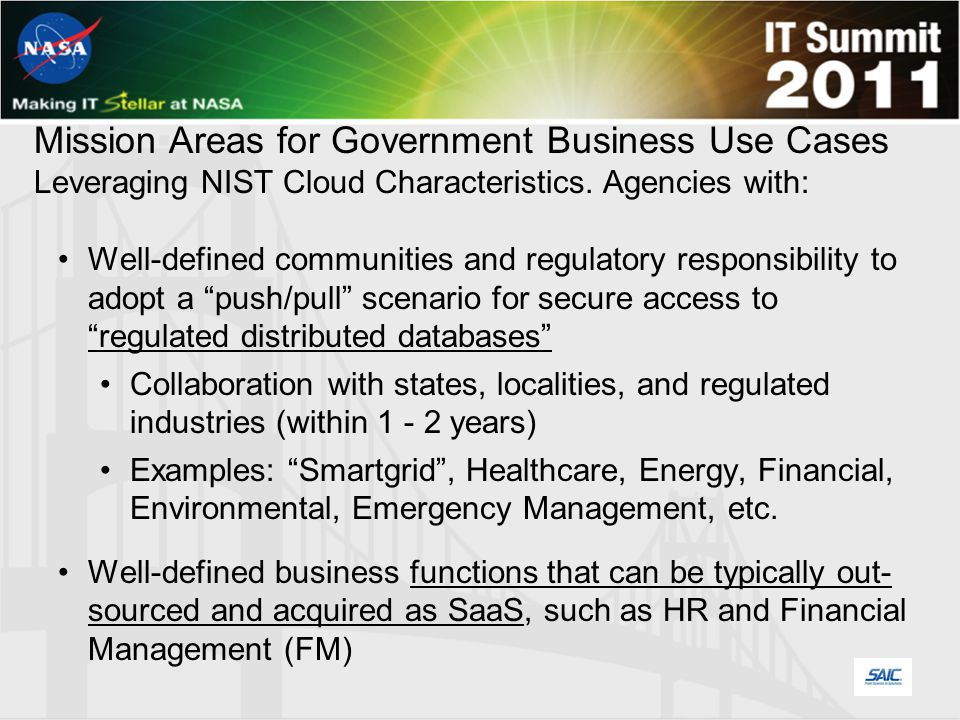 Mission Areas for Government Business Use Cases Leveraging NIST Cloud Characteristics.