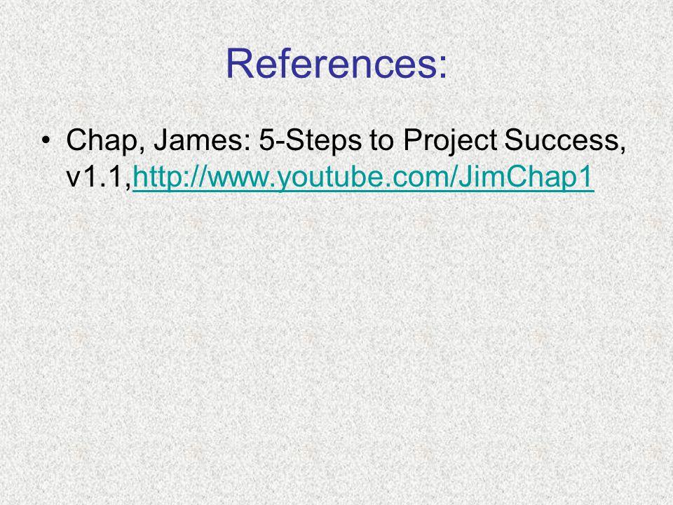 References: Chap, James: 5-Steps to Project Success, v1.1,http://www.youtube.com/JimChap1http://www.youtube.com/JimChap1