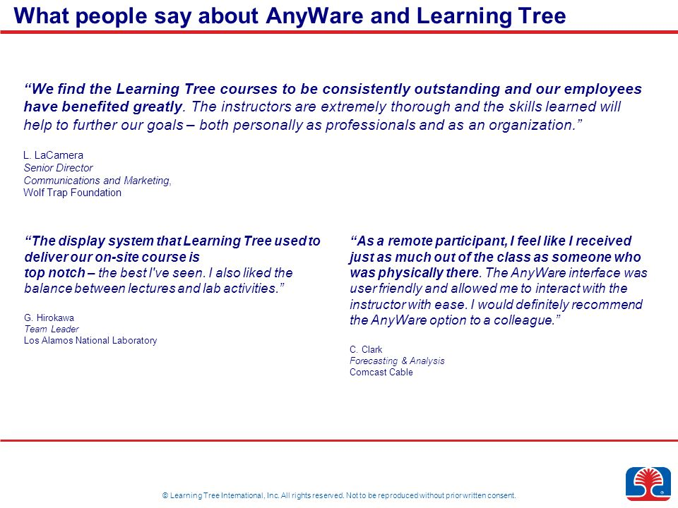 © Learning Tree International, Inc. All rights reserved.