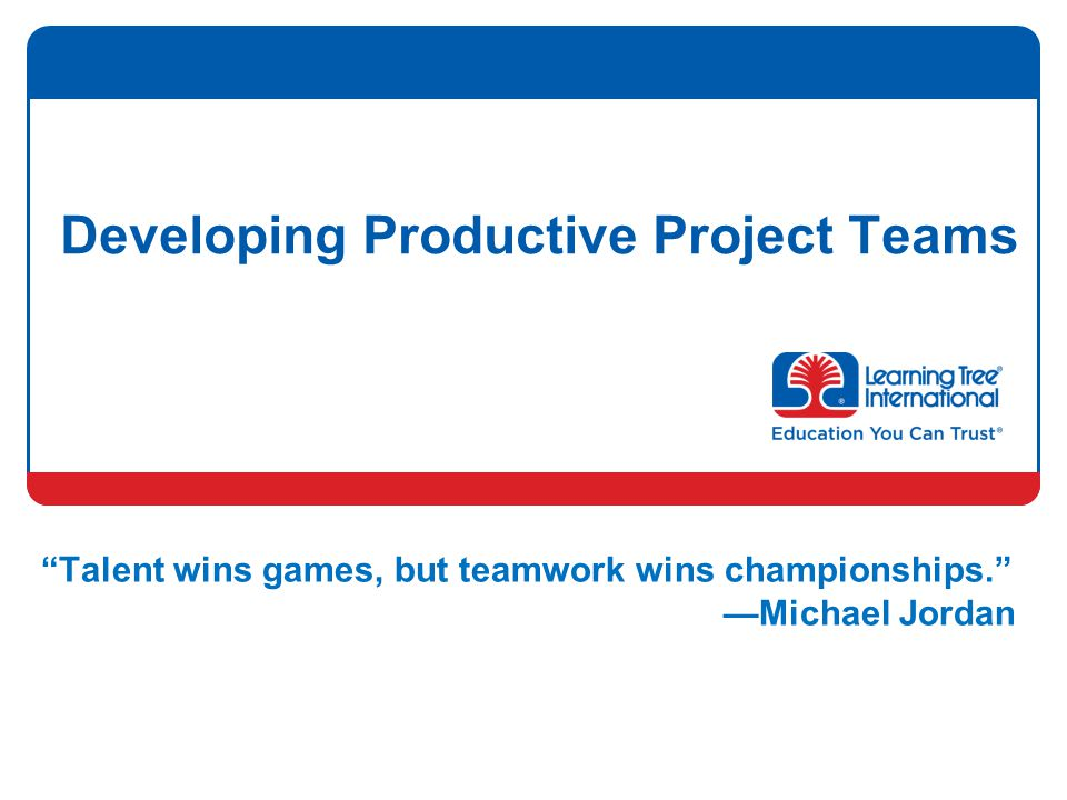 Developing Productive Project Teams Talent wins games, but teamwork wins championships. —Michael Jordan