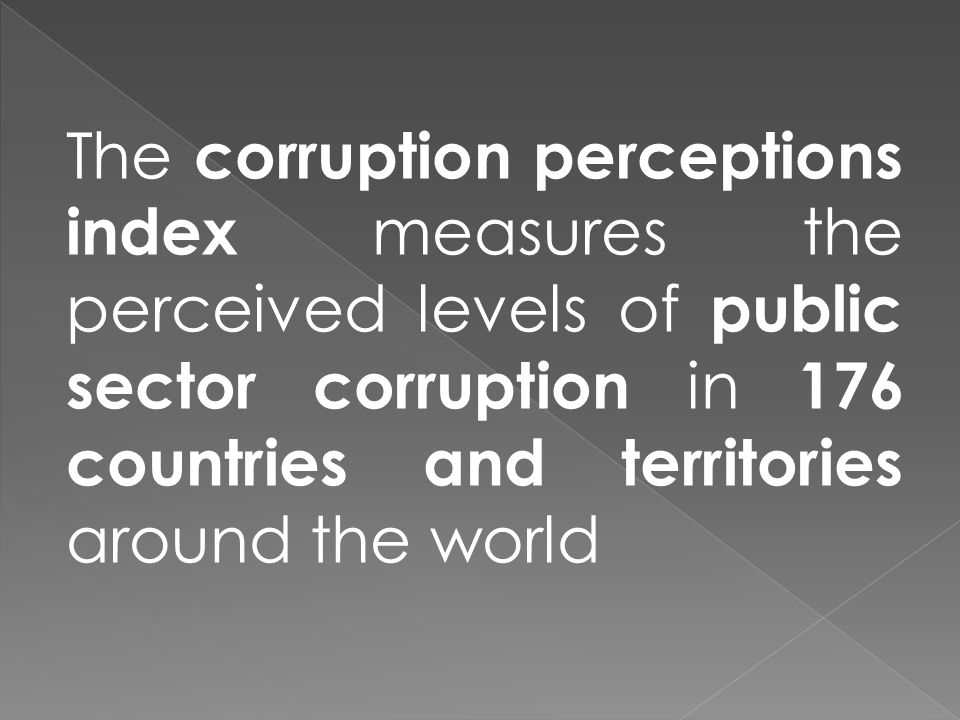 The corruption perceptions index measures the perceived levels of public sector corruption in 176 countries and territories around the world