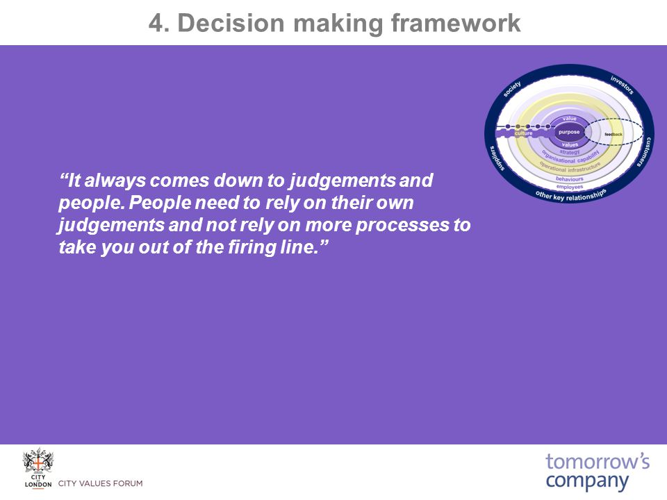 4. Decision making framework It always comes down to judgements and people.