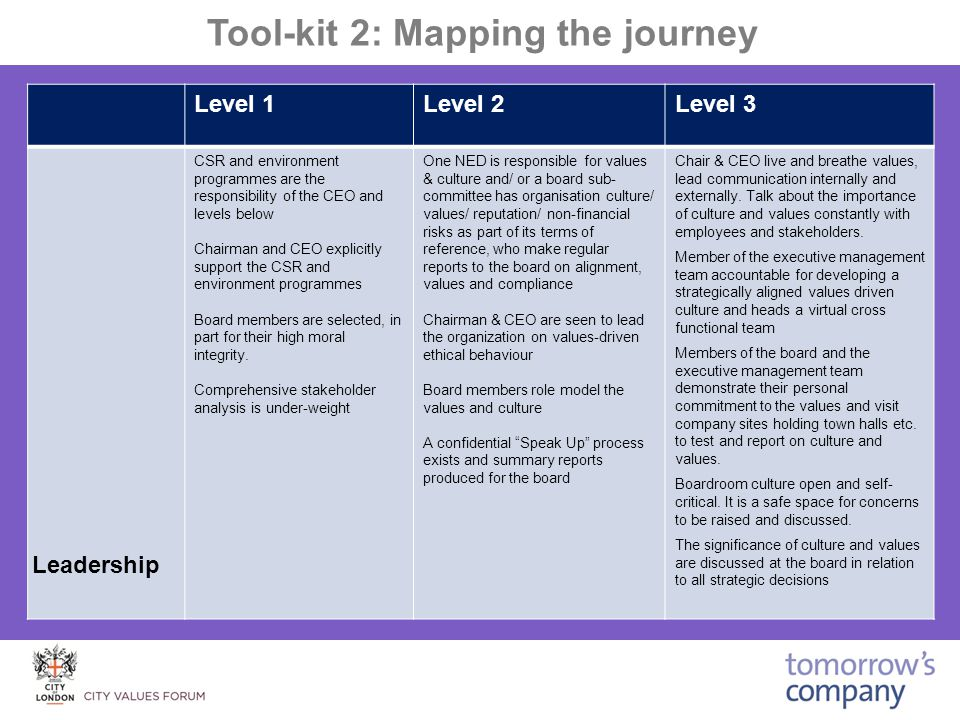 Tool-kit 2: Mapping the journey Level 1Level 2Level 3 CSR and environment programmes are the responsibility of the CEO and levels below Chairman and CEO explicitly support the CSR and environment programmes Board members are selected, in part for their high moral integrity.
