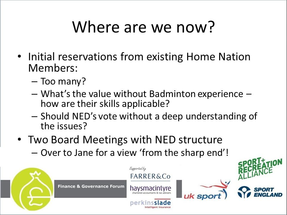 Where are we now. Initial reservations from existing Home Nation Members: – Too many.