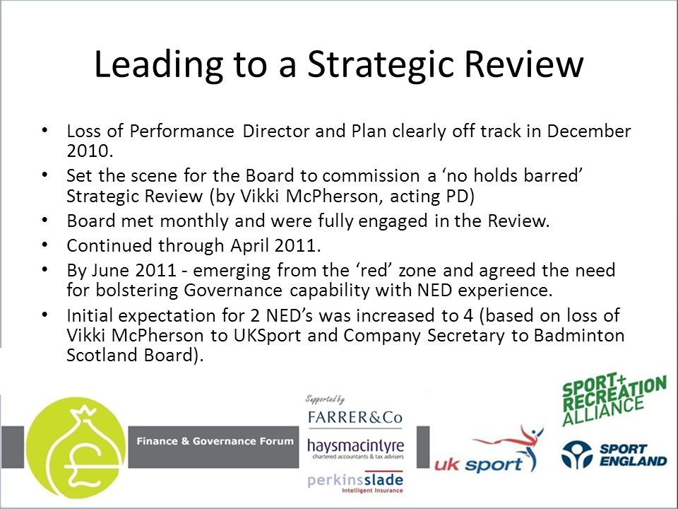 Leading to a Strategic Review Loss of Performance Director and Plan clearly off track in December 2010.