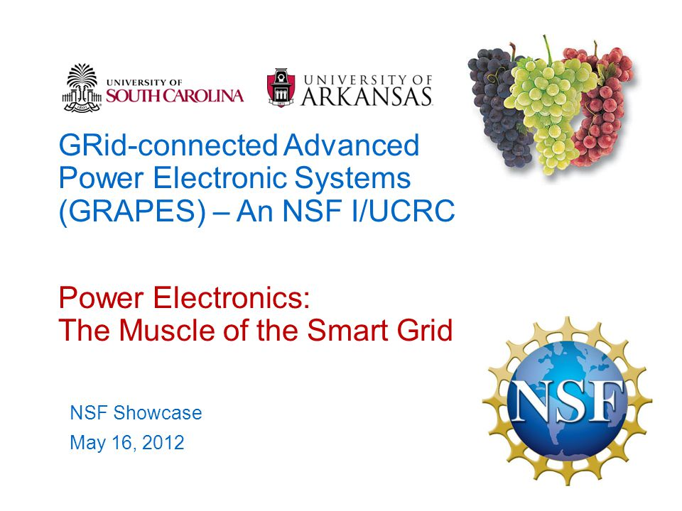 GRid-connected Advanced Power Electronic Systems (GRAPES) – An NSF I/UCRC Power Electronics: The Muscle of the Smart Grid NSF Showcase May 16, 2012