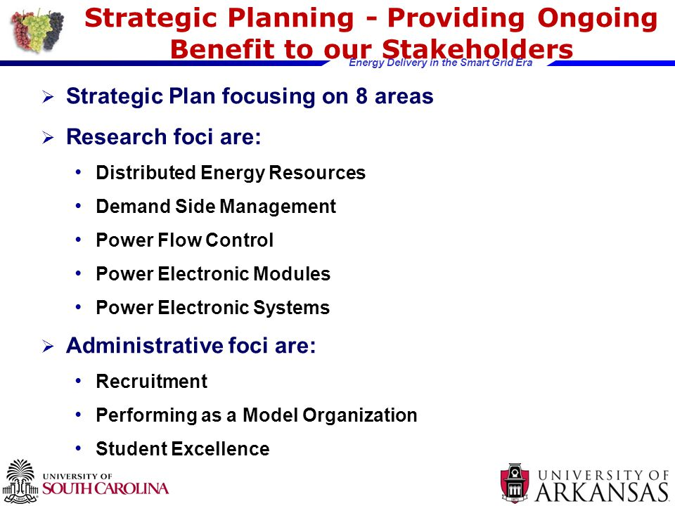 Energy Delivery in the Smart Grid Era Strategic Planning - Providing Ongoing Benefit to our Stakeholders  Strategic Plan focusing on 8 areas  Research foci are: Distributed Energy Resources Demand Side Management Power Flow Control Power Electronic Modules Power Electronic Systems  Administrative foci are: Recruitment Performing as a Model Organization Student Excellence