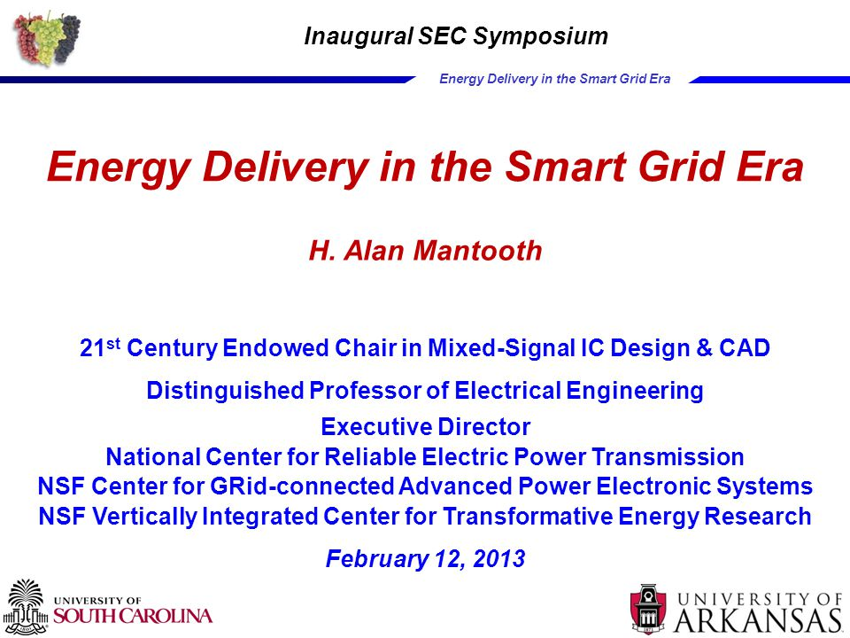 Energy Delivery in the Smart Grid Era Some Smart Grid Systems  Fault current limiter  Smart power routing  Interfaces to renewables (wind, solar)  Interfaces to storage (CES)  Electric vehicle charging & drive electronics  Transmission support  HVDC terminals 23