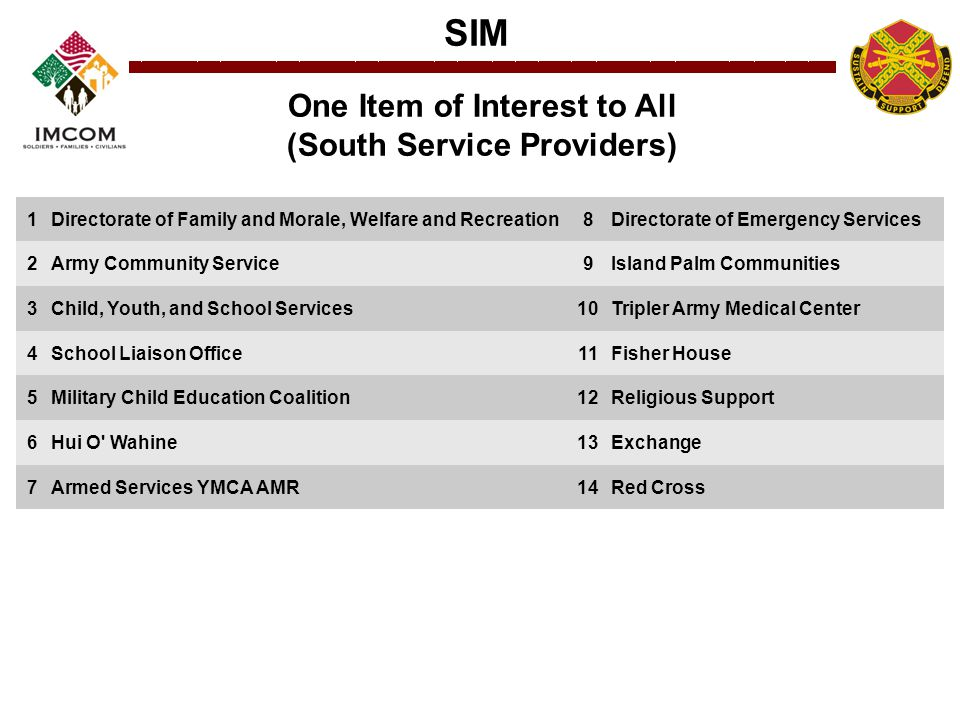 SIM One Item of Interest to All (South Service Providers) 1Directorate of Family and Morale, Welfare and Recreation8Directorate of Emergency Services 2Army Community Service9Island Palm Communities 3Child, Youth, and School Services10Tripler Army Medical Center 4School Liaison Office11Fisher House 5Military Child Education Coalition12Religious Support 6Hui O Wahine13Exchange 7Armed Services YMCA AMR14Red Cross