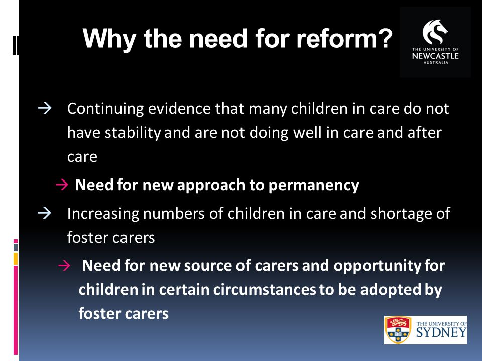 Why the need for reform.