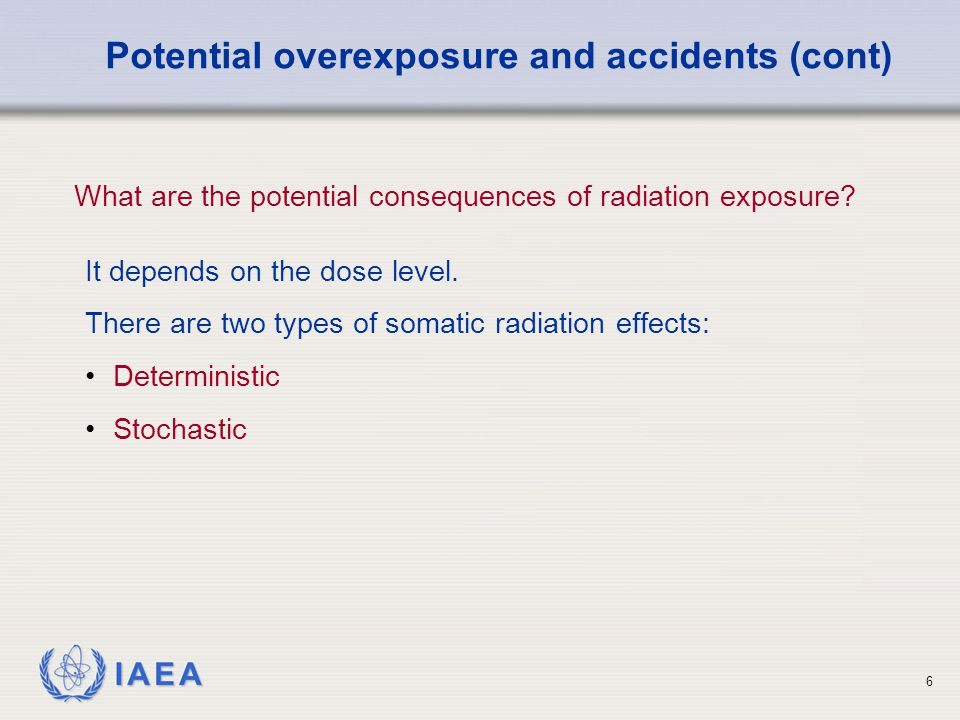 IAEA 6 It depends on the dose level.