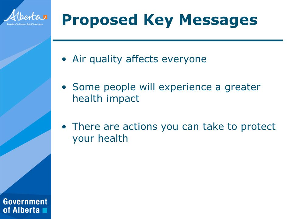 Proposed Key Messages Air quality affects everyone Some people will experience a greater health impact There are actions you can take to protect your health