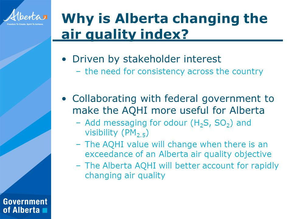 Why is Alberta changing the air quality index.