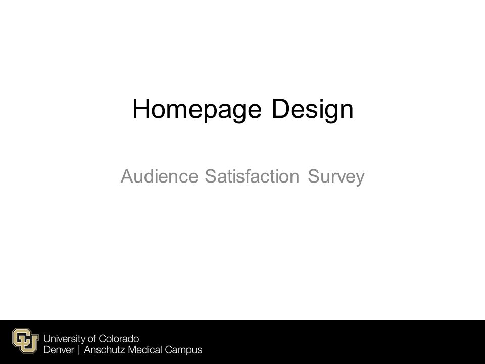 Homepage Design Audience Satisfaction Survey