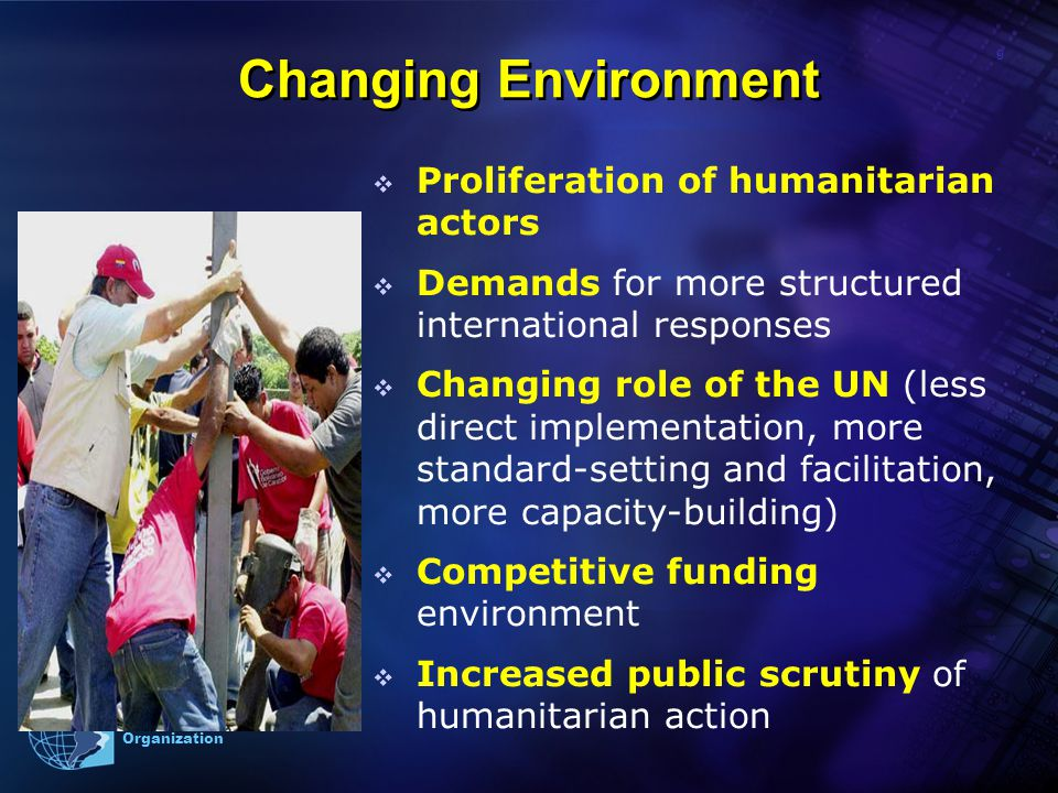 9 Pan American Health Organization Changing Environment  Proliferation of humanitarian actors  Demands for more structured international responses  Changing role of the UN (less direct implementation, more standard-setting and facilitation, more capacity-building)  Competitive funding environment  Increased public scrutiny of humanitarian action