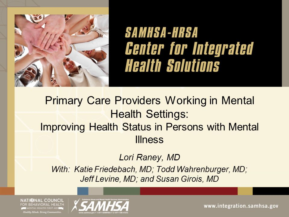 Primary Care Providers Working in Mental Health Settings: Improving Health Status in Persons with Mental Illness Lori Raney, MD With: Katie Friedebach, MD; Todd Wahrenburger, MD; Jeff Levine, MD; and Susan Girois, MD