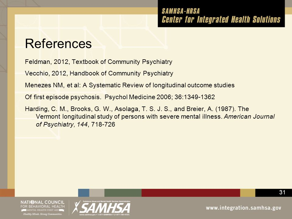 31 References Feldman, 2012, Textbook of Community Psychiatry Vecchio, 2012, Handbook of Community Psychiatry Menezes NM, et al: A Systematic Review of longitudinal outcome studies Of first episode psychosis.