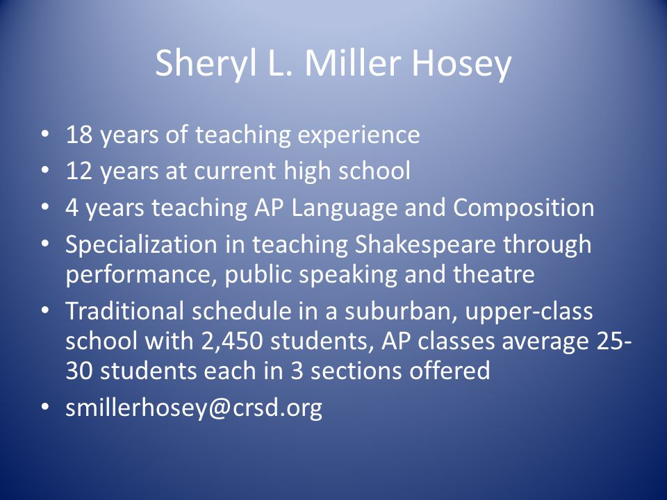 Sheryl L. Miller Hosey 18 years of teaching experience 12 years at current high school 4 years teaching AP Language and Composition Specialization in