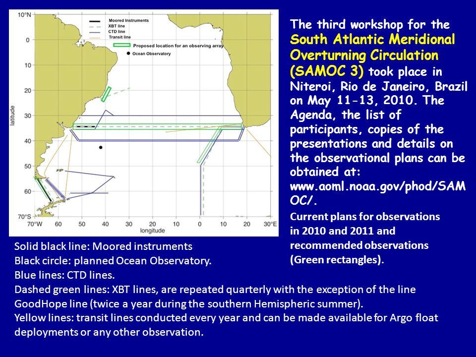 Solid black line: Moored instruments Black circle: planned Ocean Observatory.