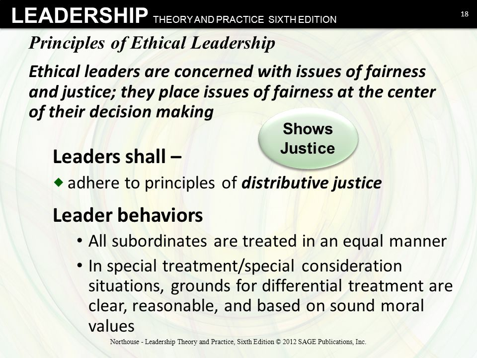 LEADERSHIP THEORY AND PRACTICE SIXTH EDITION Principles of Ethical Leadership Leaders shall –  adhere to principles of distributive justice Leader be