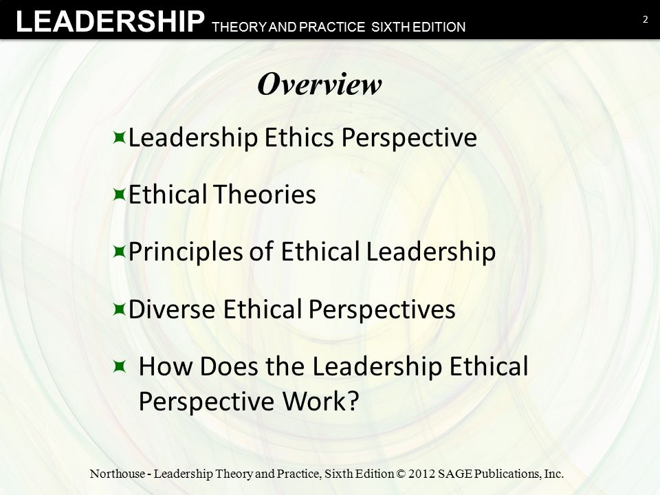 LEADERSHIP THEORY AND PRACTICE SIXTH EDITION Overview  Leadership Ethics Perspective  Ethical Theories  Principles of Ethical Leadership  Diverse