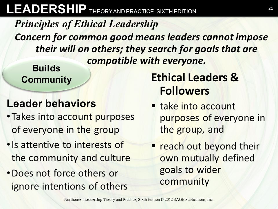 LEADERSHIP THEORY AND PRACTICE SIXTH EDITION Principles of Ethical Leadership Concern for common good means leaders cannot impose their will on others