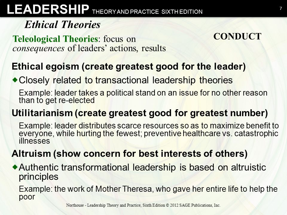 LEADERSHIP THEORY AND PRACTICE SIXTH EDITION Ethical Theories  Deontological Theories: duty driven, for example, relates not only to consequences but also to whether action itself is good  Focuses on the actions of the leader and his/her moral obligation and responsibilities to do the right thing Example: telling the truth, keeping promises, being fair 8 Northouse - Leadership Theory and Practice, Sixth Edition © 2012 SAGE Publications, Inc.