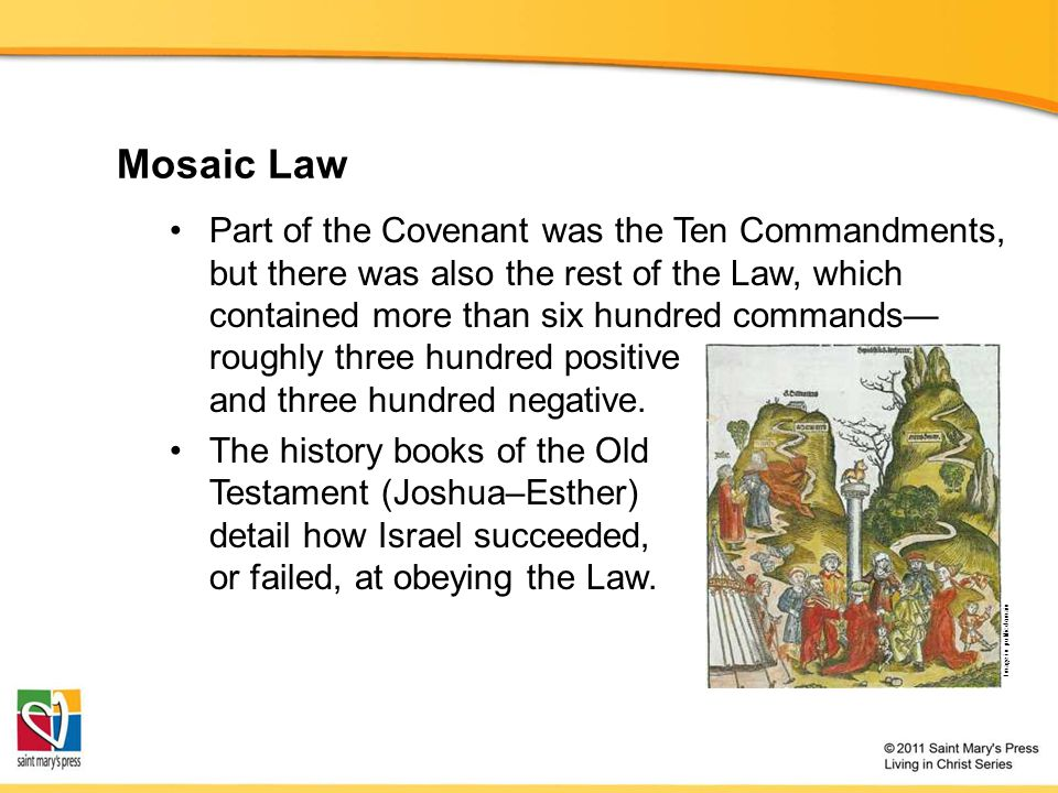 Mosaic Law Part of the Covenant was the Ten Commandments, but there was also the rest of the Law, which contained more than six hundred commands— roughly three hundred positive and three hundred negative.