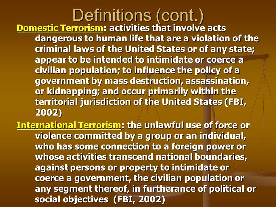 An Emergent Model of Terrorism.Cultural Goals Anomie, Strain Political Beliefs Innovation.