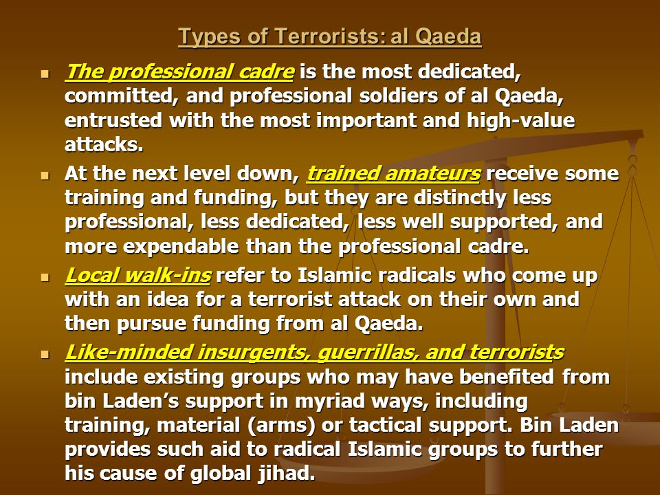 Types of Terrorists: al Qaeda The professional cadre is the most dedicated, committed, and professional soldiers of al Qaeda, entrusted with the most