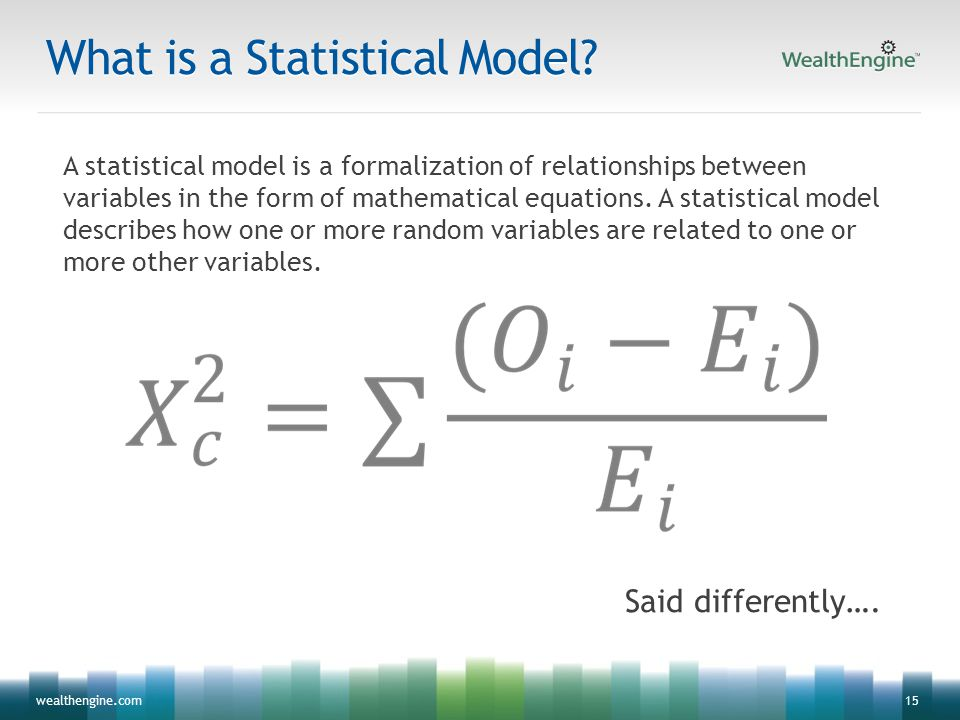15wealthengine.com What is a Statistical Model? A statistical model is a formalization of relationships between variables in the form of mathematical