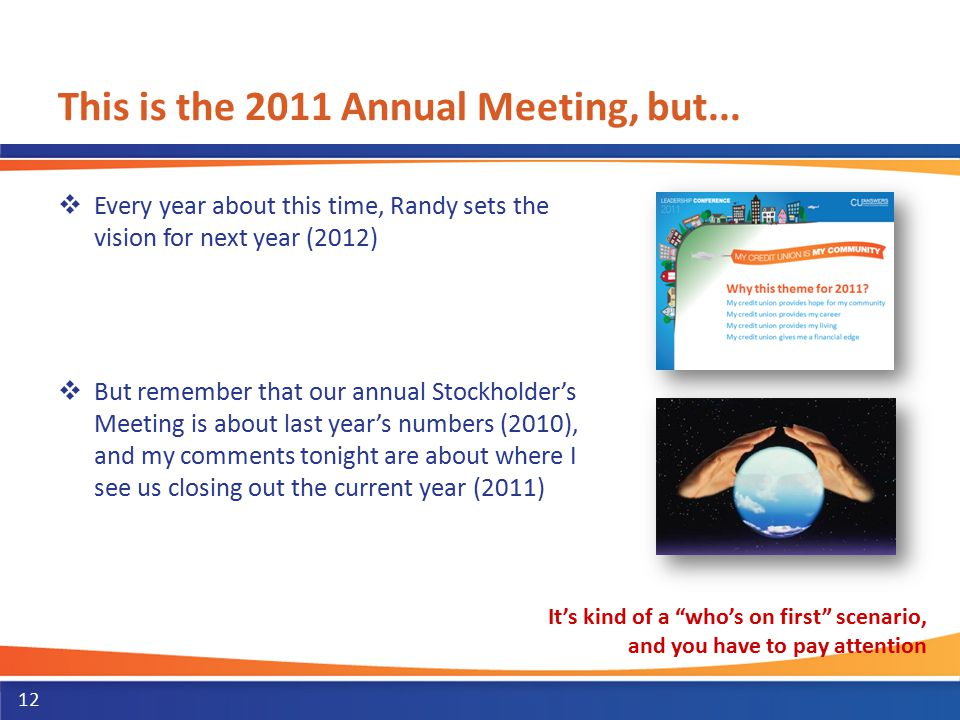 This is the 2011 Annual Meeting, but...  Every year about this time, Randy sets the vision for next year (2012)  But remember that our annual Stockh