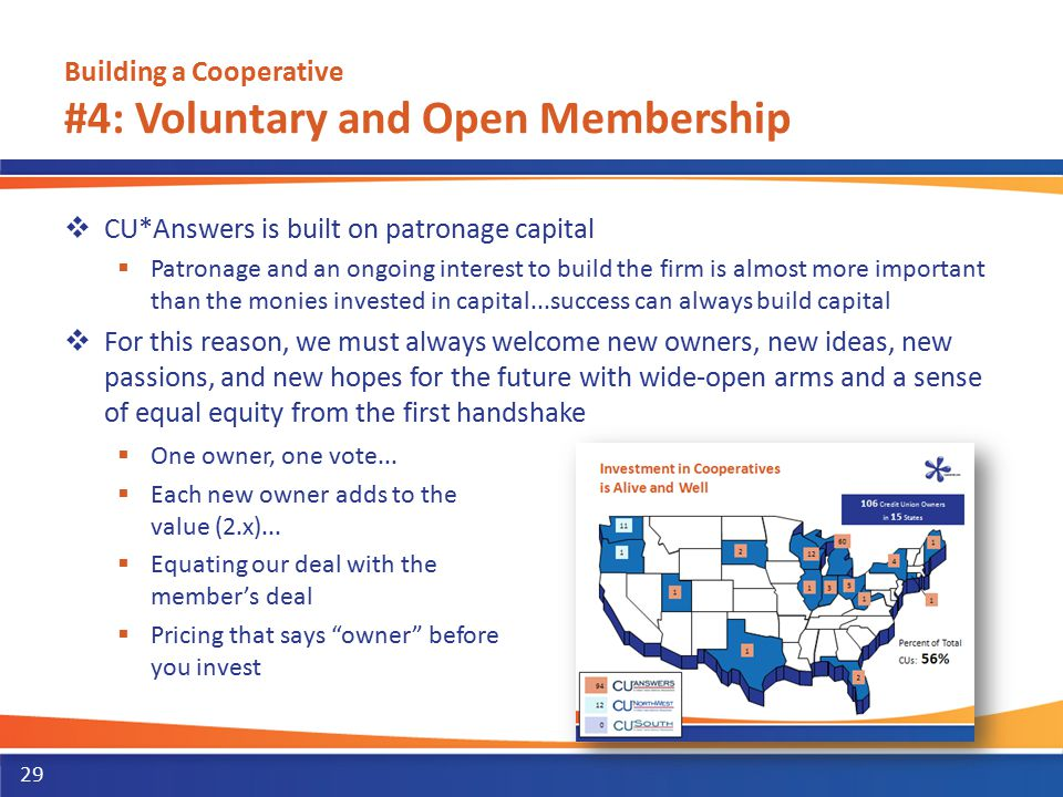Building a Cooperative #4: Voluntary and Open Membership  CU*Answers is built on patronage capital  Patronage and an ongoing interest to build the f
