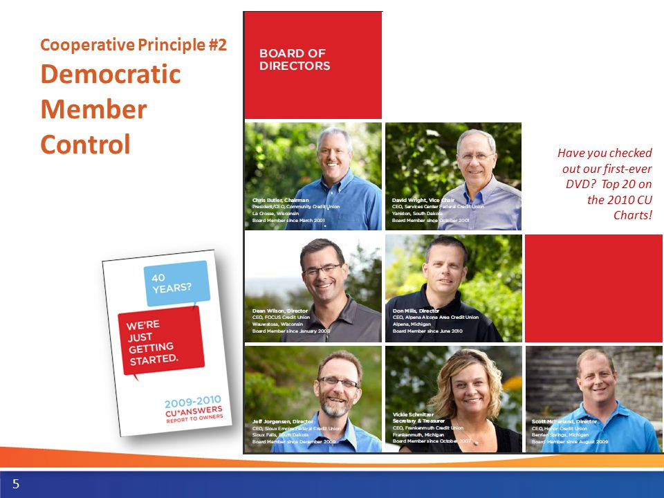 Cooperative Principle #2 Democratic Member Control Have you checked out our first-ever DVD? Top 20 on the 2010 CU Charts! 5