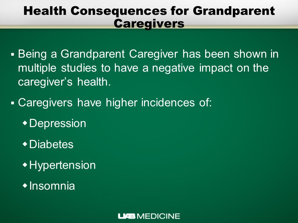 Health Consequences for Grandparent Caregivers  Being a Grandparent Caregiver has been shown in multiple studies to have a negative impact on the caregiver's health.