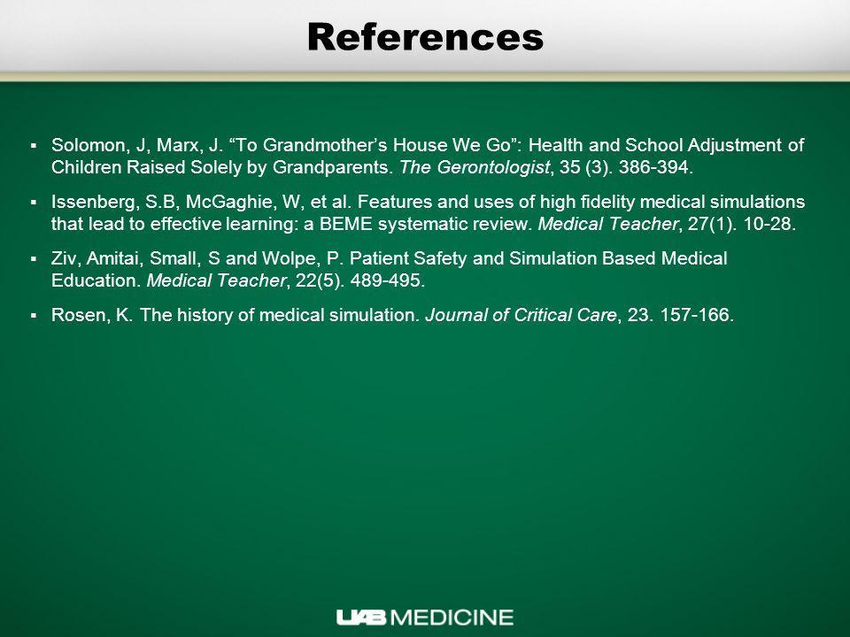 References  Solomon, J, Marx, J.
