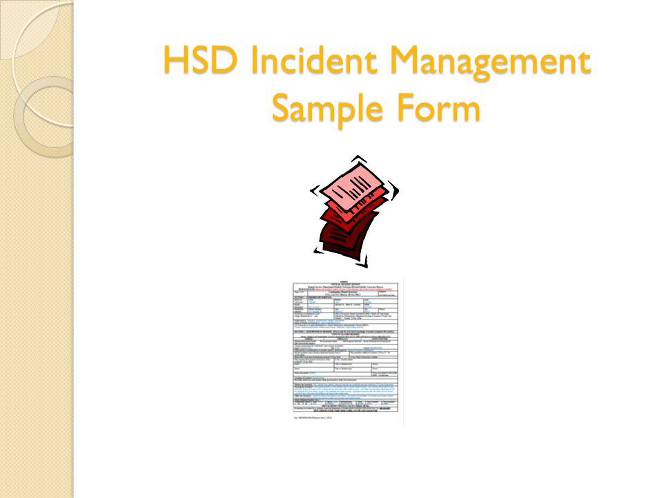 HSD Incident Management Sample Form