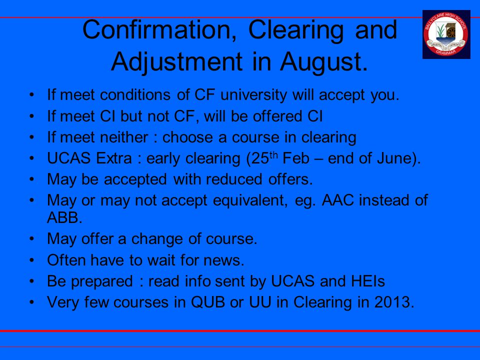 Confirmation, Clearing and Adjustment in August.