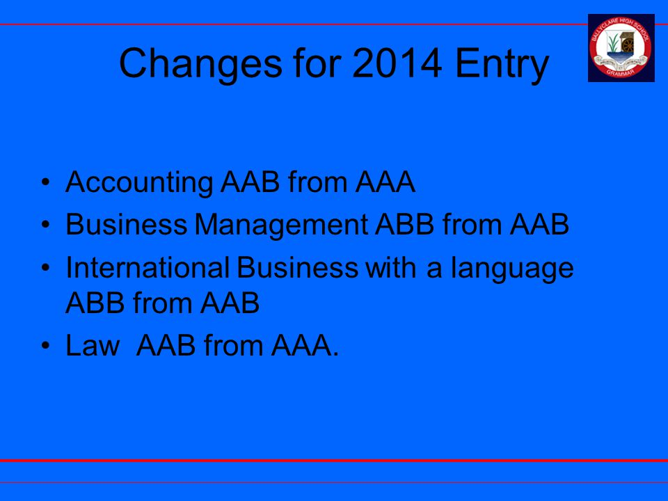 Changes for 2014 Entry Accounting AAB from AAA Business Management ABB from AAB International Business with a language ABB from AAB Law AAB from AAA.