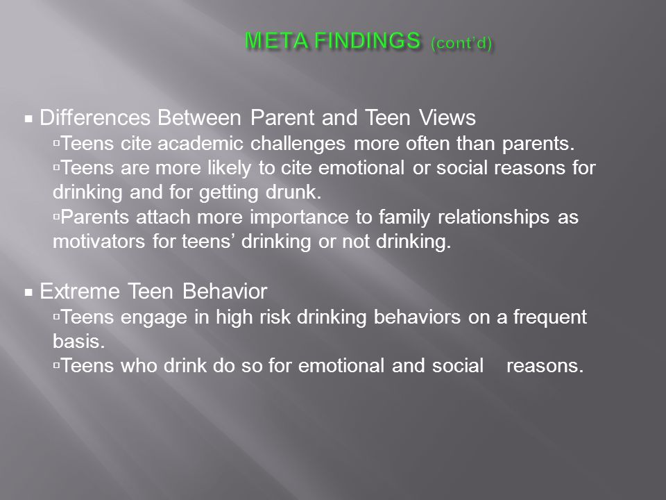  Differences Between Parent and Teen Views  Teens cite academic challenges more often than parents.